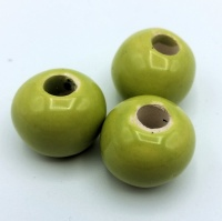 Greek ceramic bead round 16mm - green